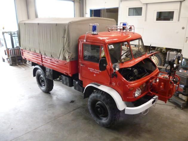 Der Unimog-S der FF Gaggenau in der Werkstatt von Mertec    Foto: Weber
