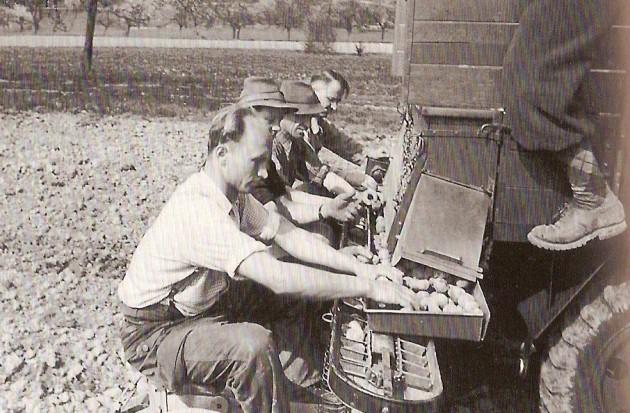 Willi Seitz bei Prospektaufnahmen für das Kartoffellegegerät um 1955
