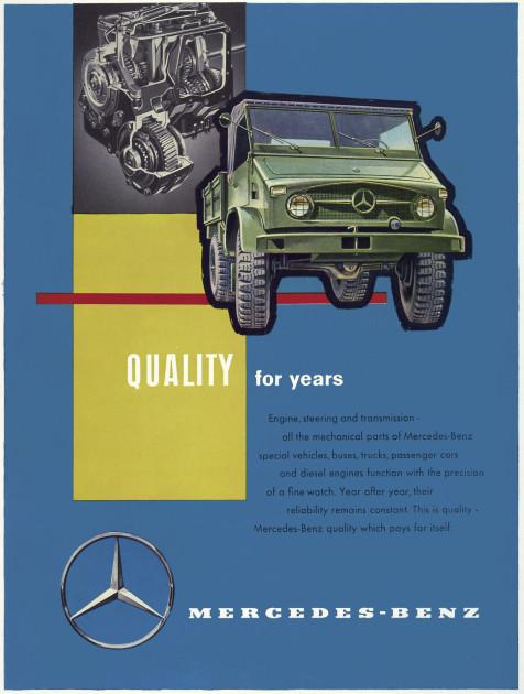 Werbeanzeige von Daimler-Benz zum Unimog S, Baureihe 404.1, für Exportmärkte