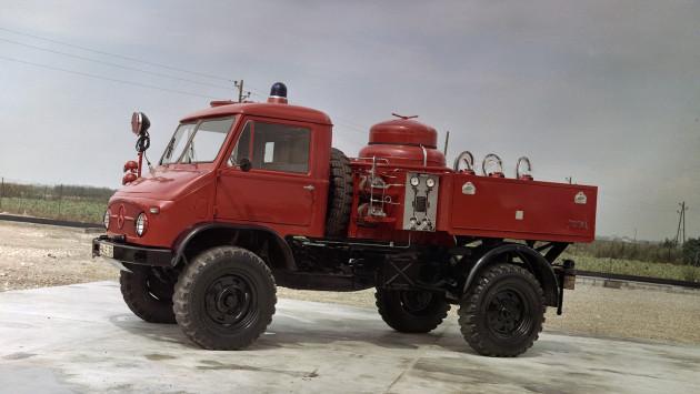 Unimog S, Baureihe 404.1 Pulverlöschfahrzeug TroLF 750 mit Total-Aufbau