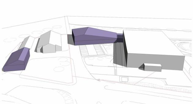 Die Neubauten sind lila dargestellt - rechts das bestehende Museums-Gebäude   -   Kohlbecker Gesamtplan GmbH