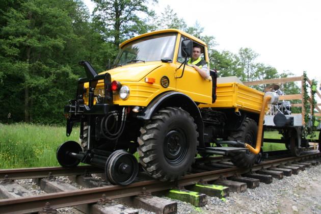 Neben dem Museum wurden für Einsatzdemonstrationen 80 Meter Schienen verlegt