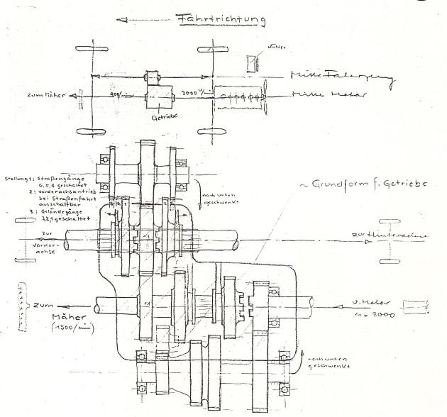 Skizze von Walter Benseler für den Antrieb und das Getriebe zum Motorgetriebenen Universalgerät