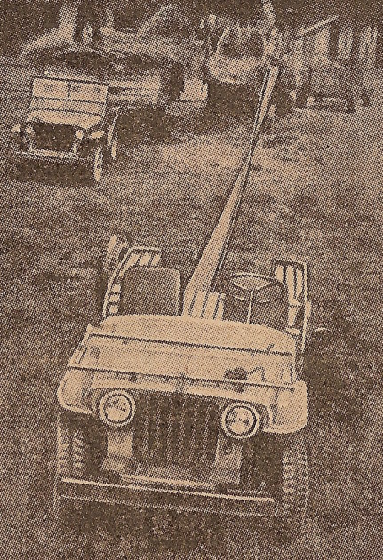 Jeep betreibt eine Dreschmaschine