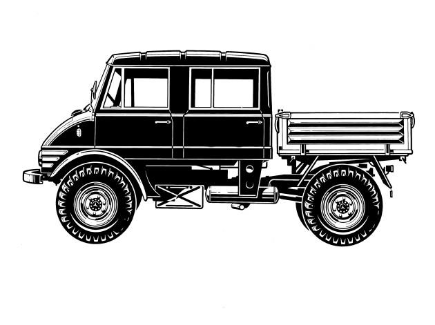 Unimog U90, Baureihe 416 mit Doppelkabine Zeichnung der Seitenansicht