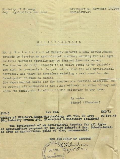 Die Produktionsgenehmigung mit Ergänzung vom 20. November 1945