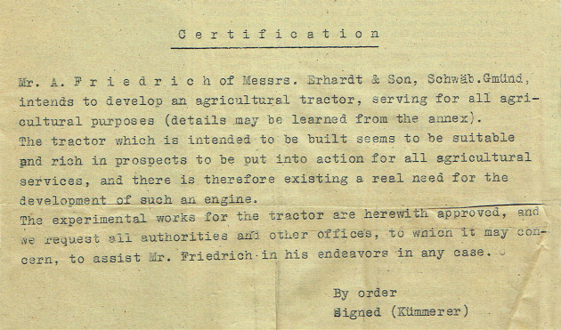 Auszug aus der Produktionsgenehmigung vom 19. November 1945