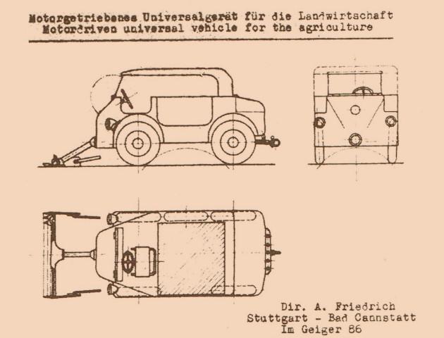 Ausschnitt aus dem Antrag von Albert Friedrich für eine Produktionsgenehmigung für 10 Prototypen des motorgetriebenen Universalfahrzeugs für die Landwirtschaft - jetzt ohne Mercedes-Stern