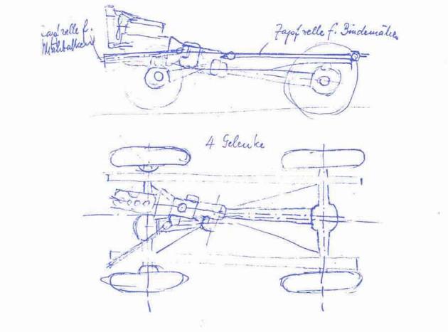 Skizze von Heinrich Rößler für ein mögliches Fahrgestell-Konzept des späteren Unimog vom Dezember 1945