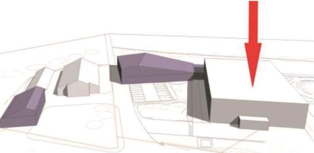 Das jetzige Museum (Pfeil) und die geplanten Erweiterungsbauten.