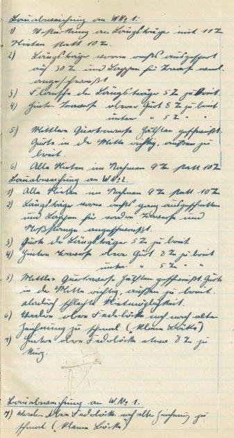 Die erste Seite des Werkstatt-Tagebuchs des Unimog vom 1. August 1946