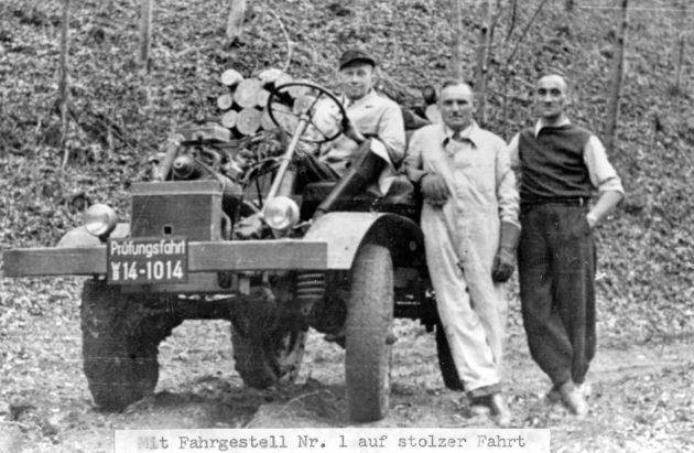 Heinrich Rößler, Karl Rank und Hans Zabel bei der ersten Probefahrt des U 1