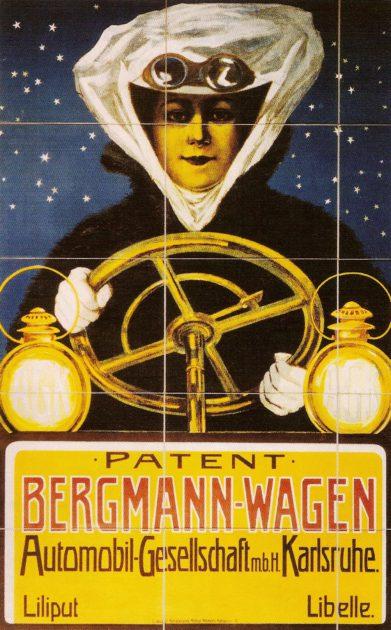 Werbung für Bergmann-Wagen um 1903