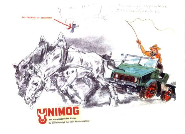 """Besonderer Humor: Weil auch das Lenkrad fehlt, ist der Unimog """"steuerfrei""""."""
